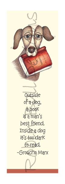 Humorous Dog Whimsical Designs for Bookmarks