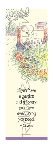 Garden and Library Hand Drawn Cards & Bookmarks