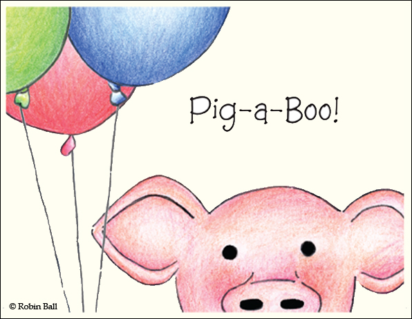 Baby Pig with Balloons Card Blank Greeting Card