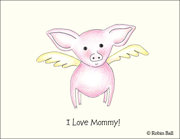 Baby Flying Pig Love Mom Card Blank Greeting Card