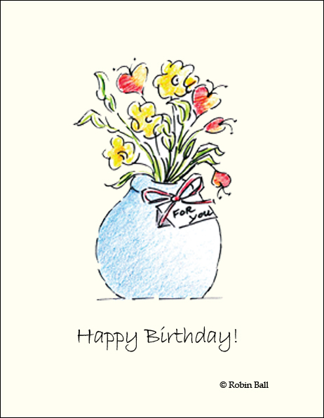 Boxed Birthday Flower Greeting Cards