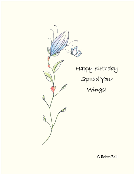 Flower Boxed Birthday Hand Drawn Cards