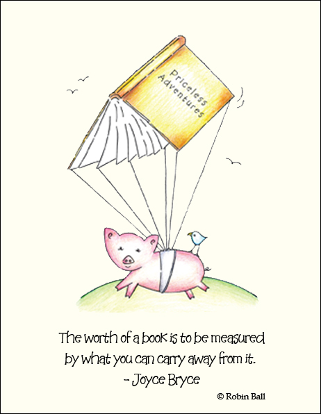 Flying Pig with Book Greeting Card  Click On Image To View Larger Picture
