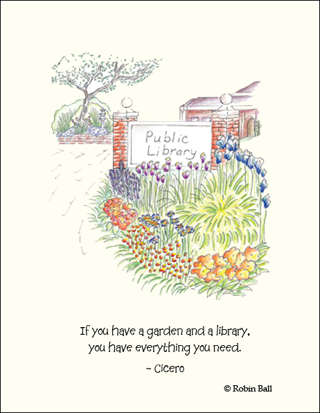 Garden and Library Greeting Card    Click On Image To View Larger Picture
