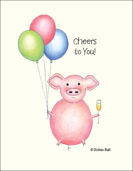 Pig Blank Greeting Cards